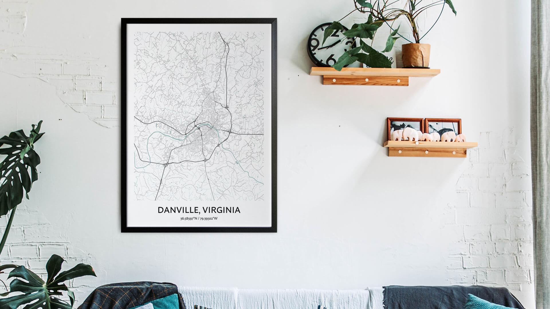 Danville Virginia map art