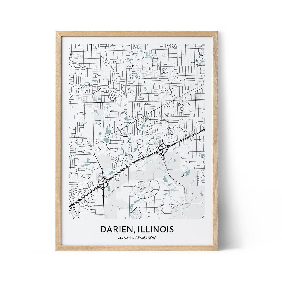 Darien city map poster