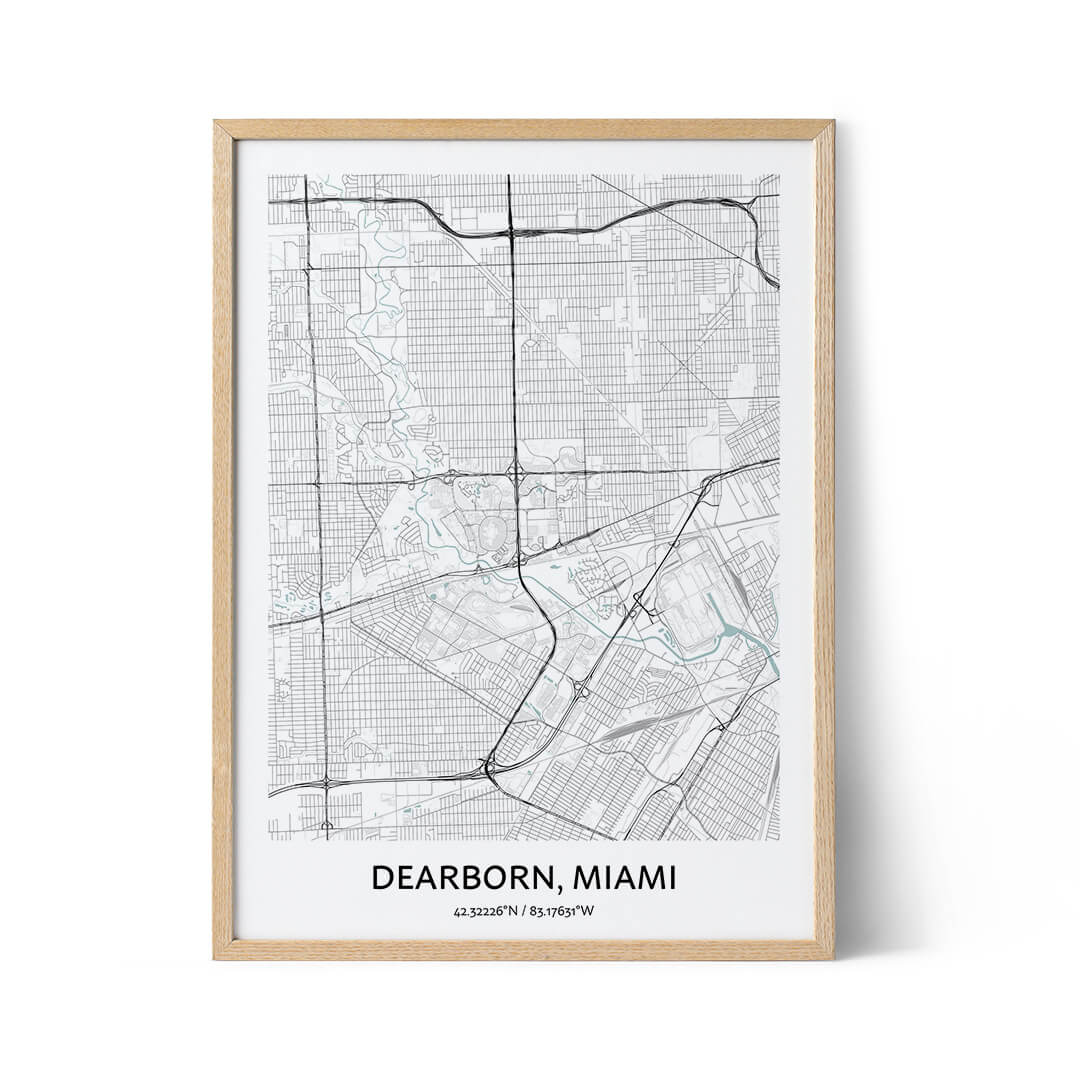 Dearborn city map poster