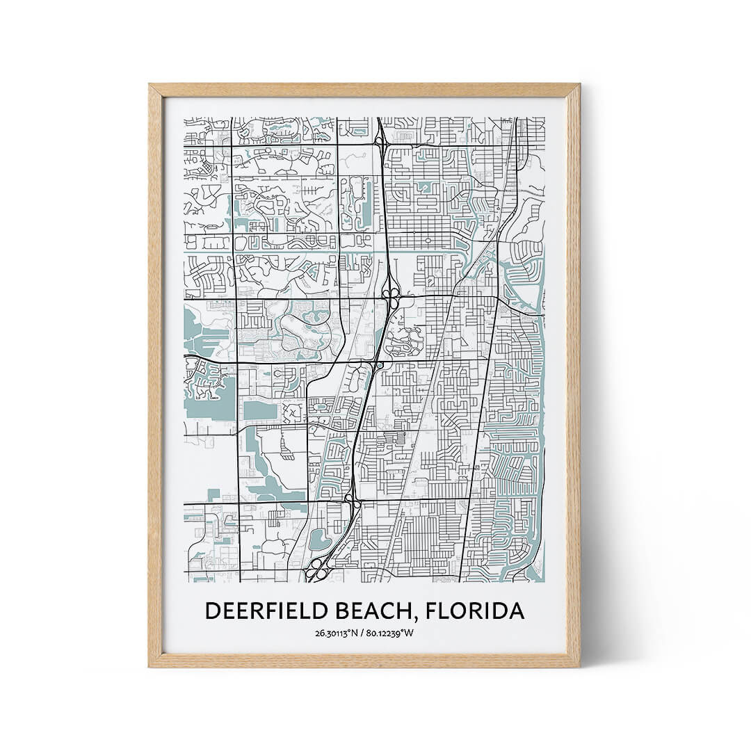 Deerfield Beach city map poster