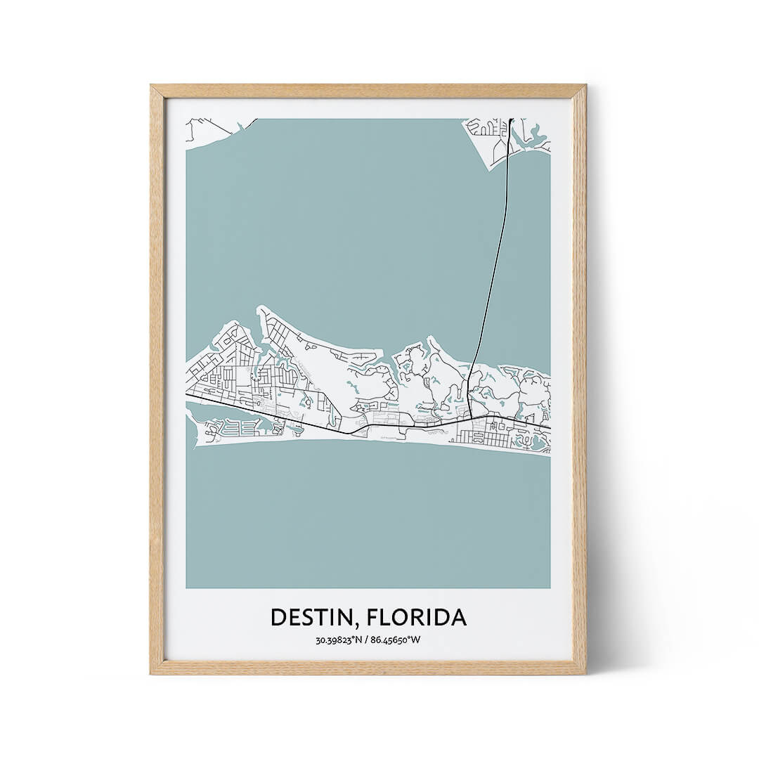 Destin city map poster
