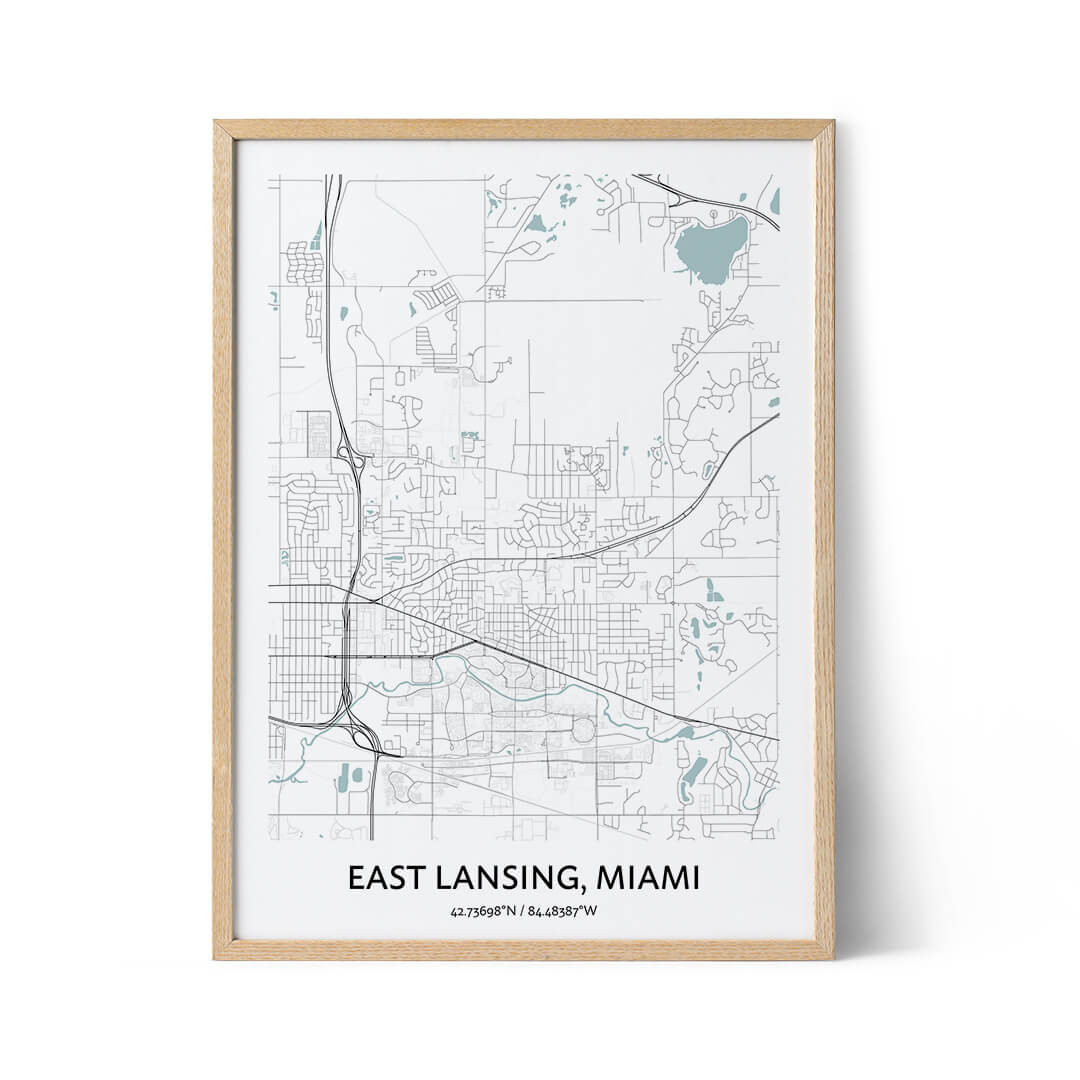 East Lansing city map poster