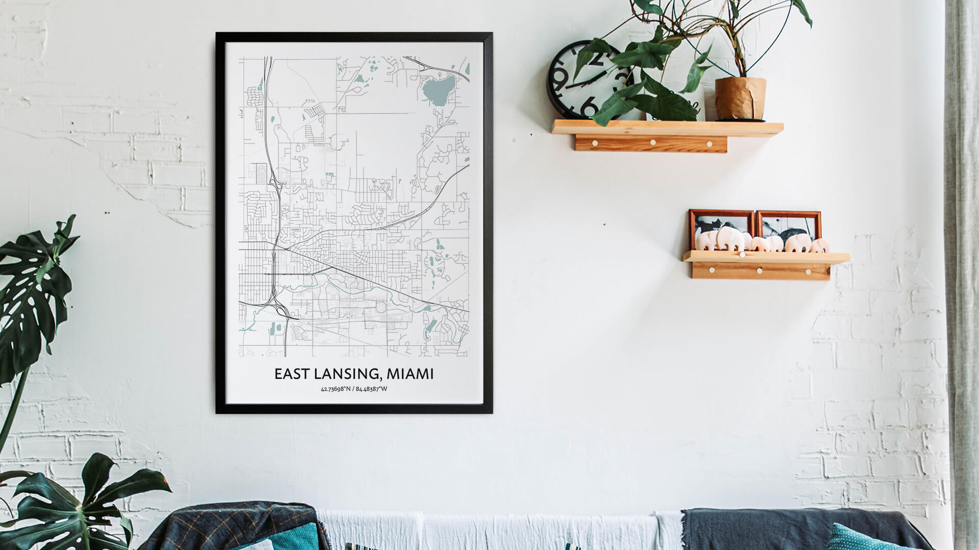 East Lansing map art