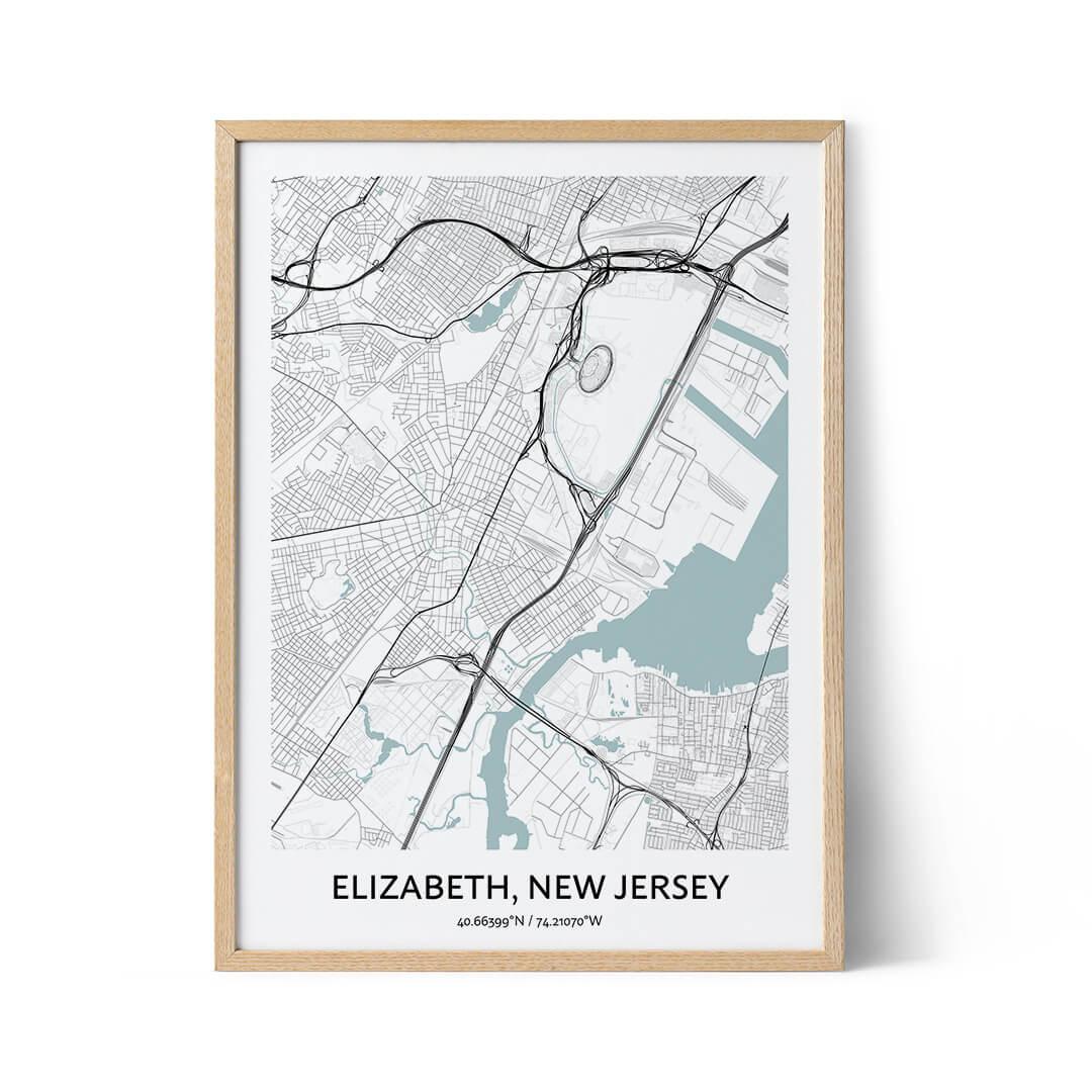 Elizabeth city map poster
