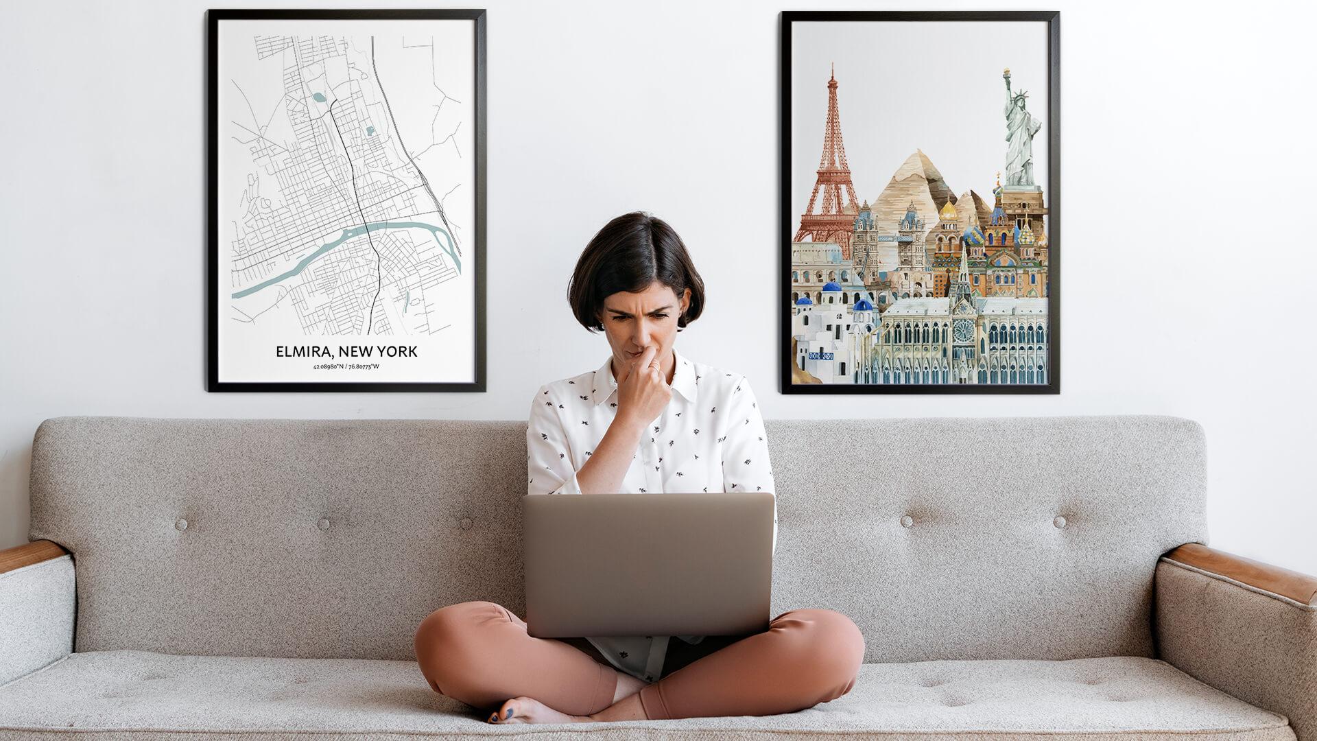 Elmira city map art