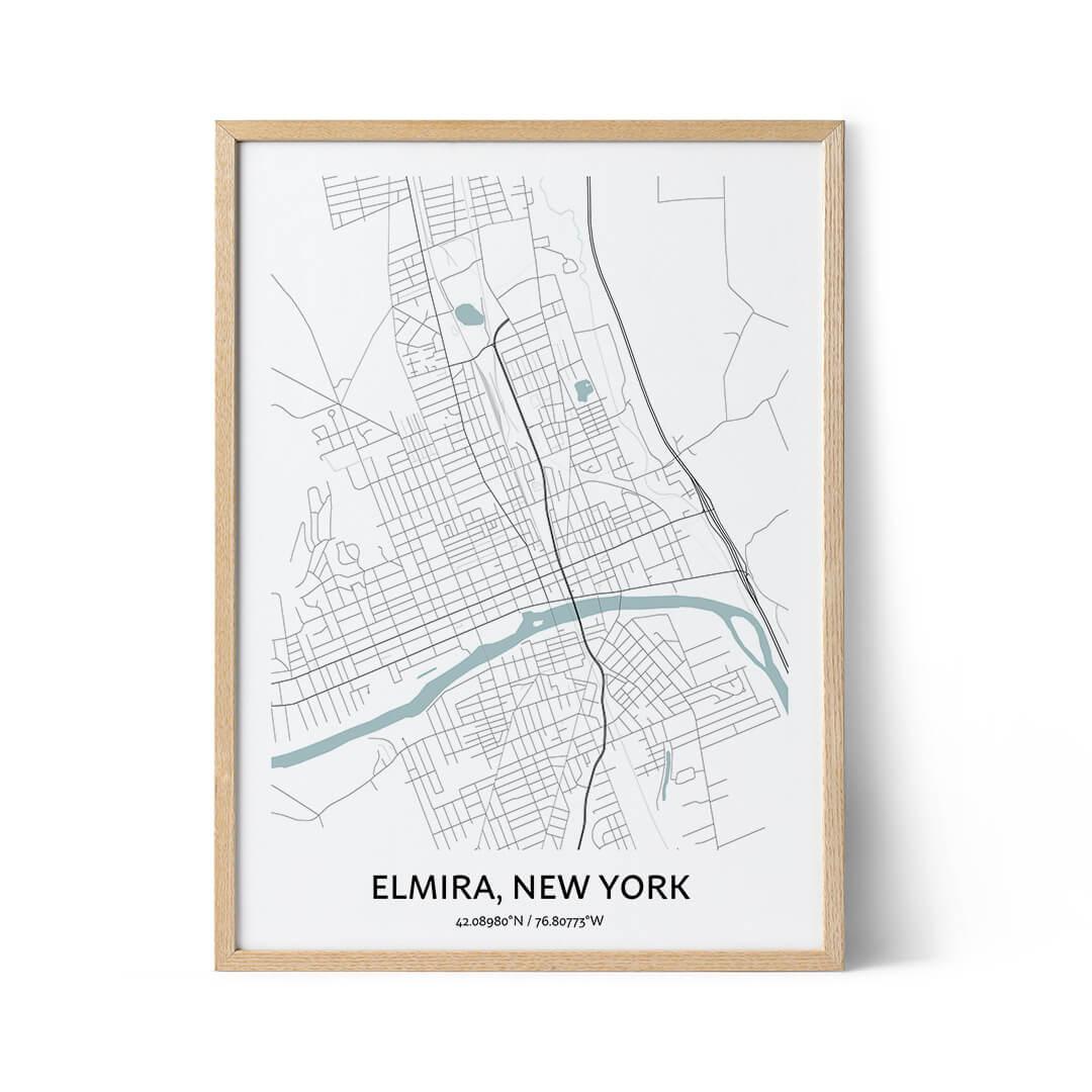 Elmira city map poster