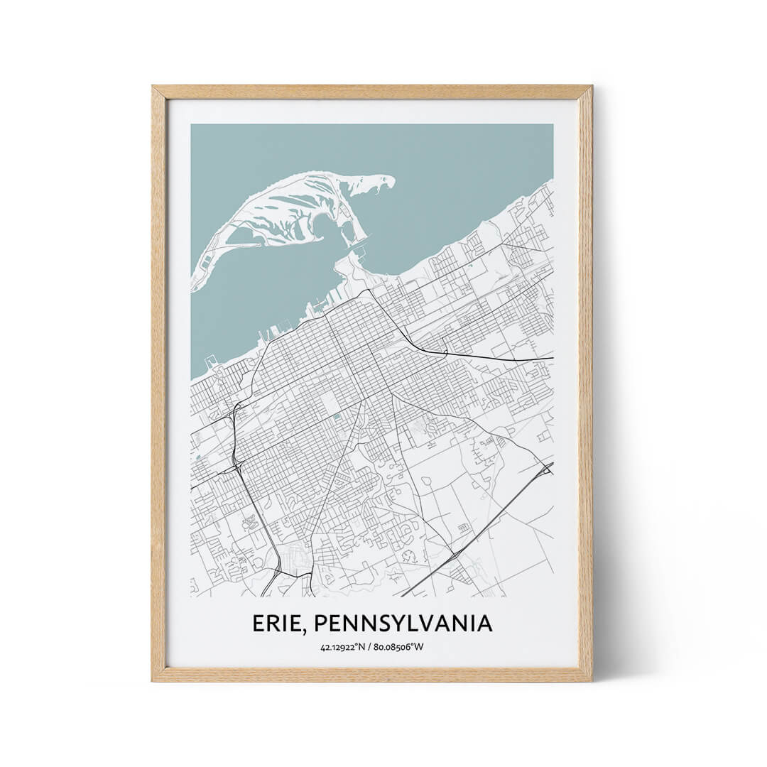Erie city map poster