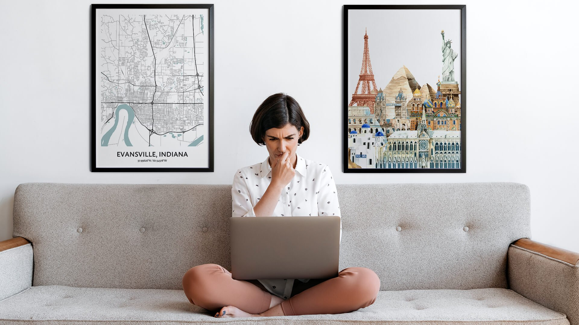 Evansville city map art