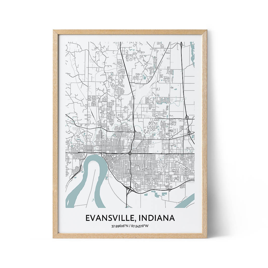 Evansville city map poster