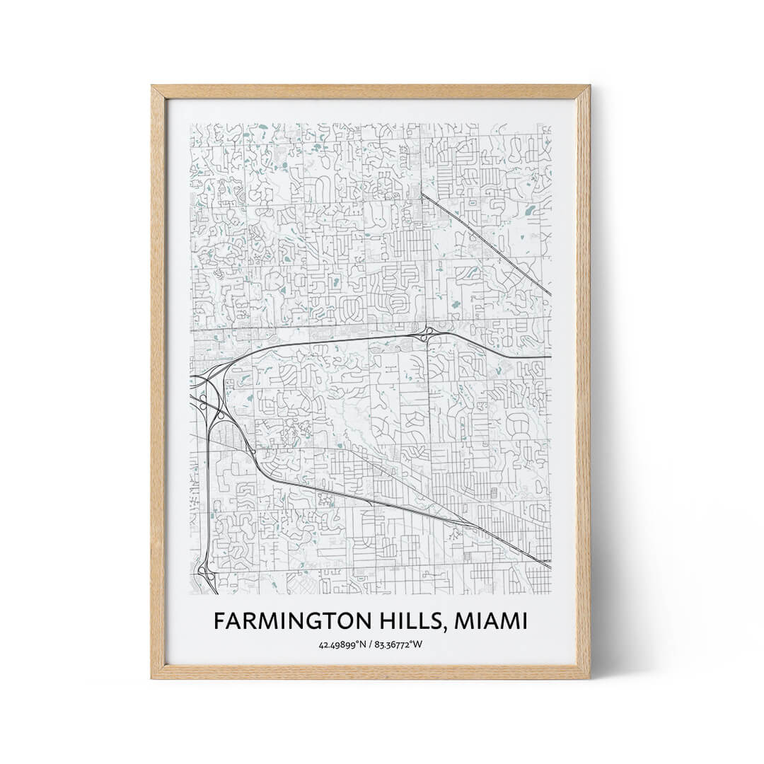 Farmington Hills city map poster