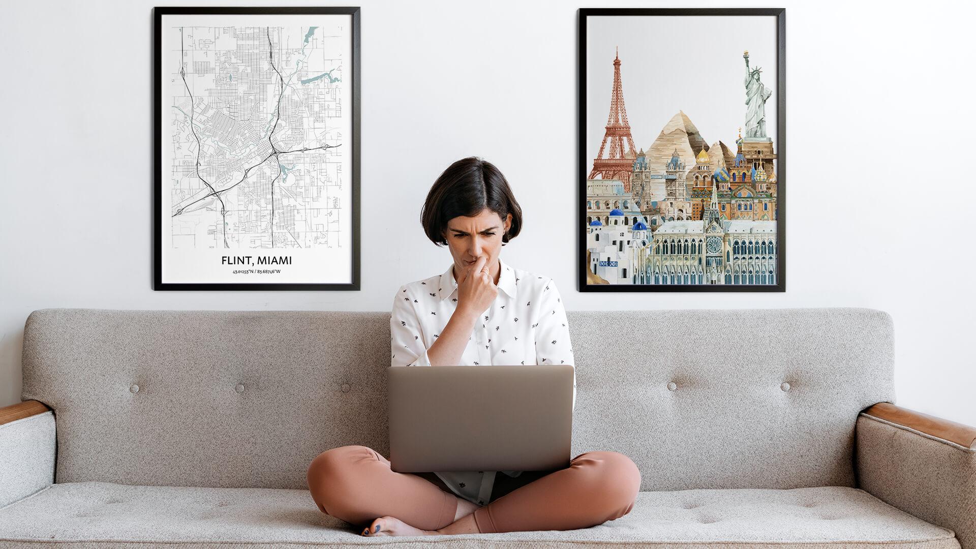 Flint city map art