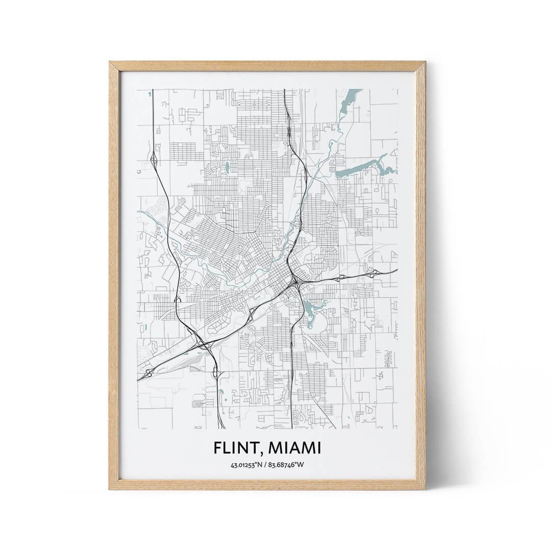Flint city map poster