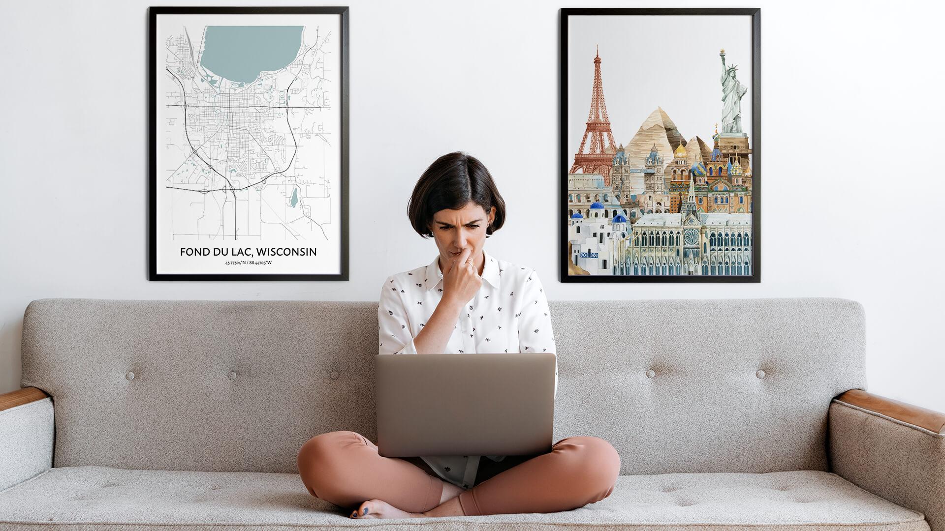 Fond du Lac city map art