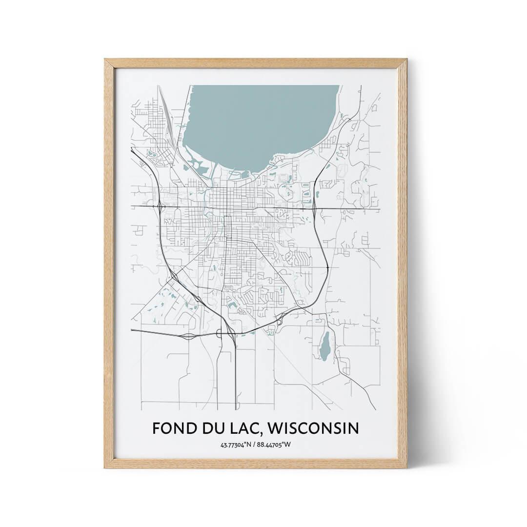 Fond du Lac city map poster