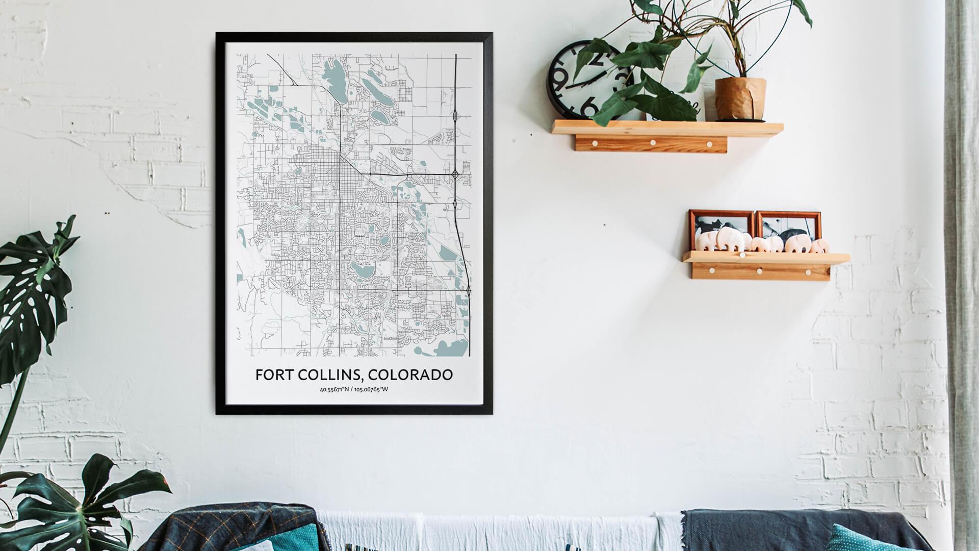 Fort Collins map art