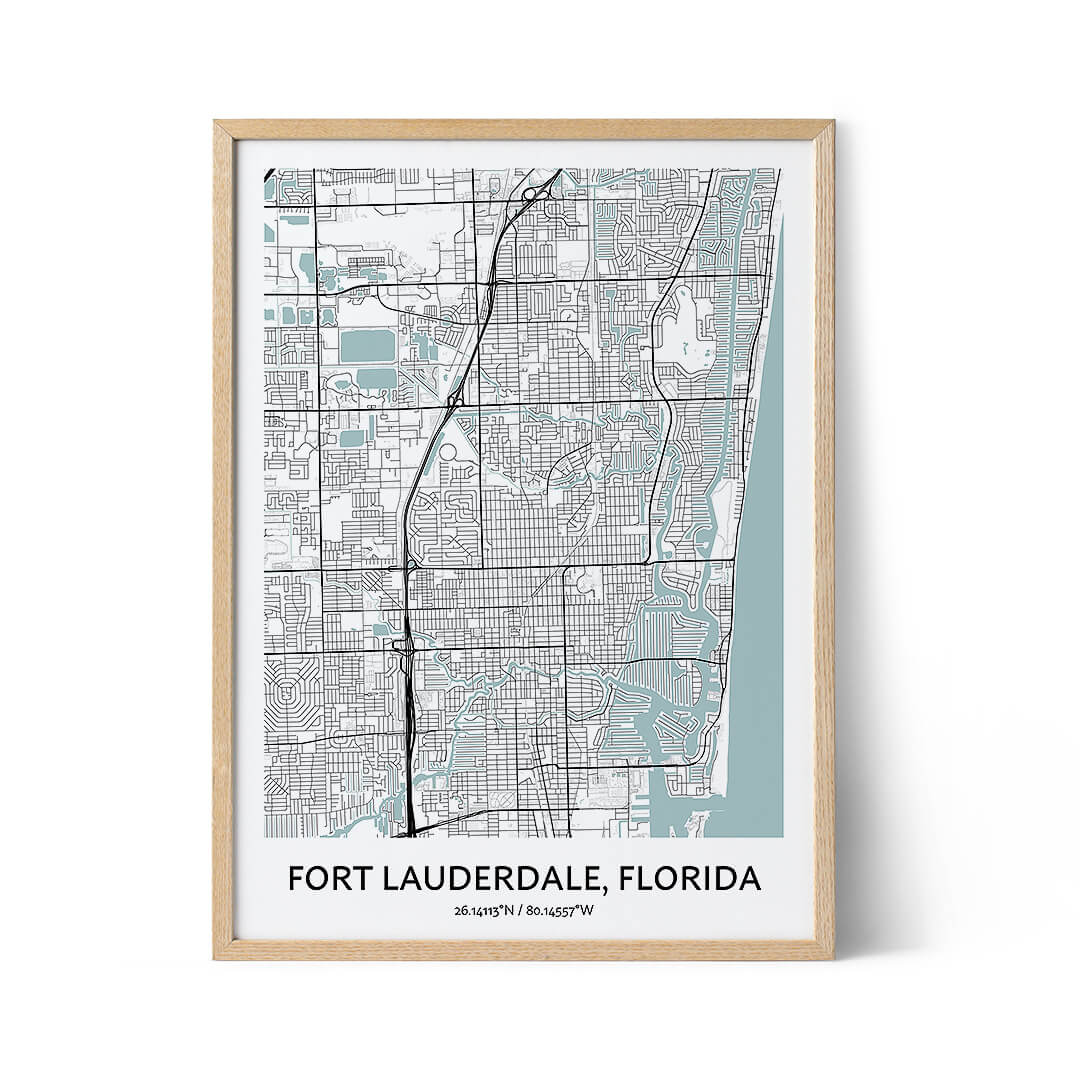 Fort Lauderdale city map poster