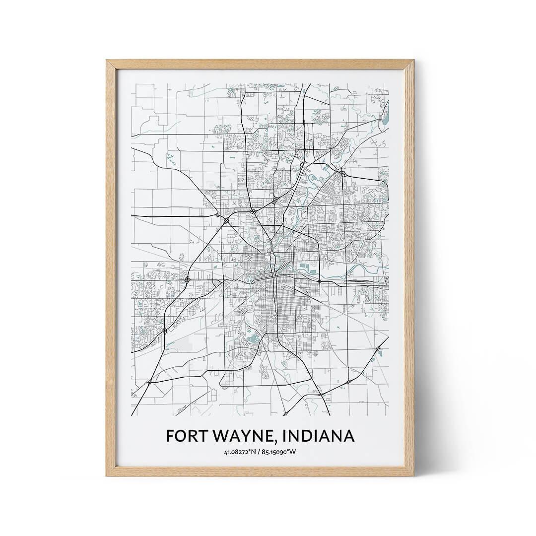 Fort Wayne city map poster
