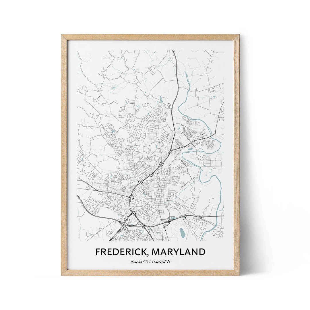 Frederick city map poster