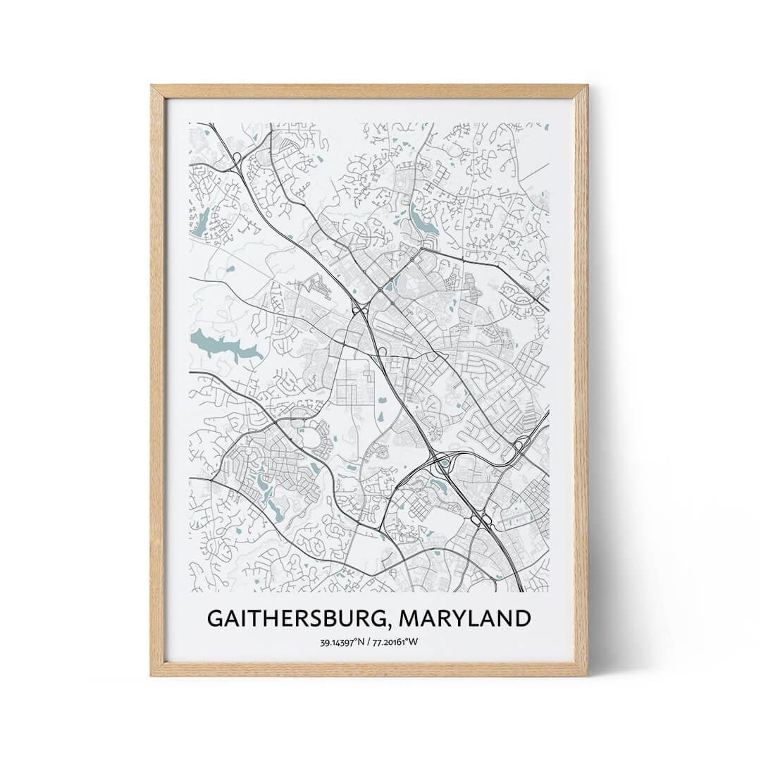 Gaithersburg city map poster