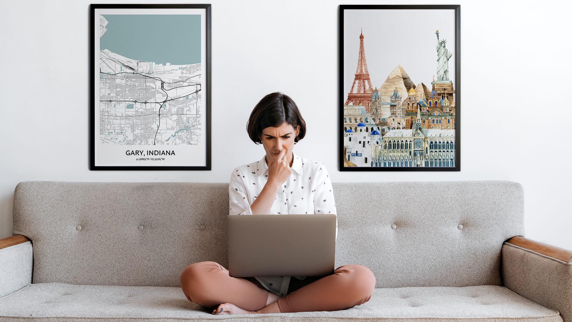 Gary city map art