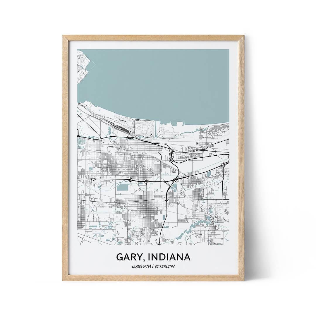 Gary city map poster