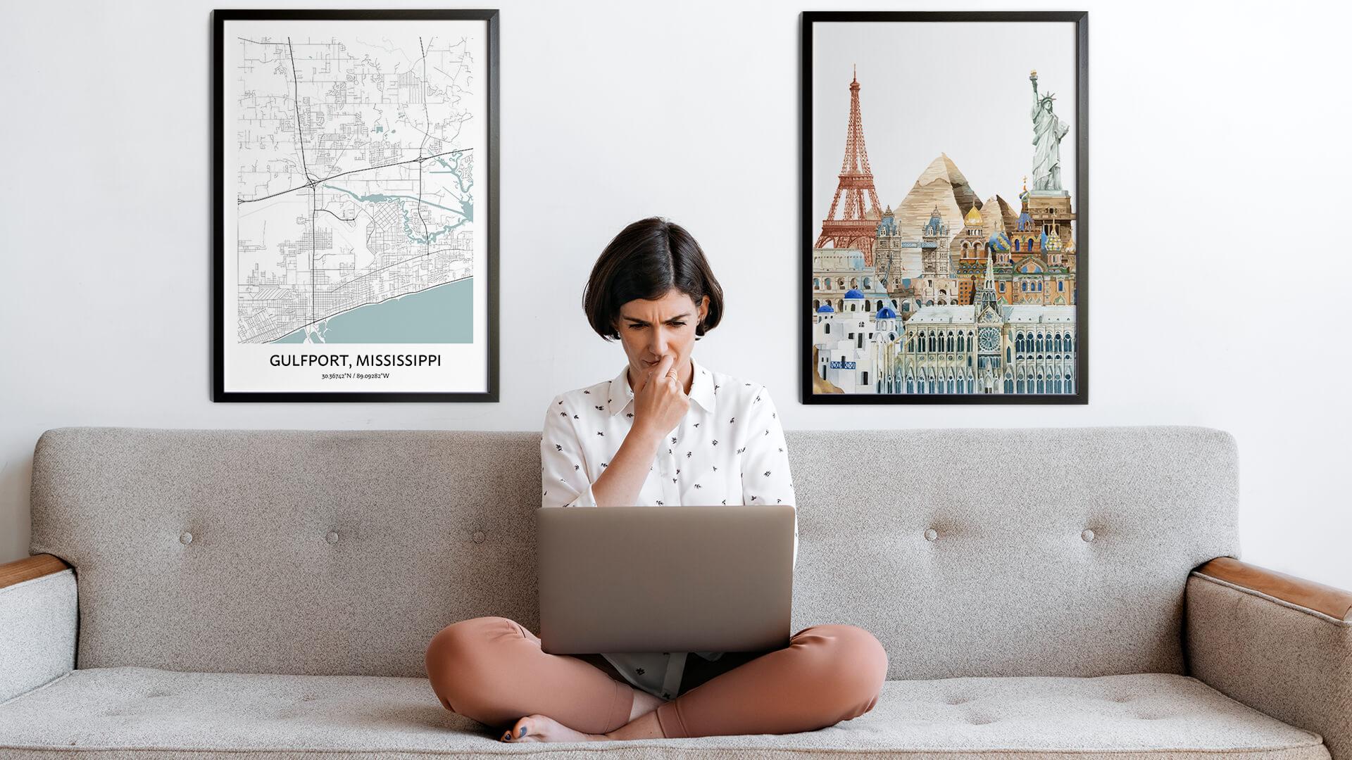 Gulfport city map art