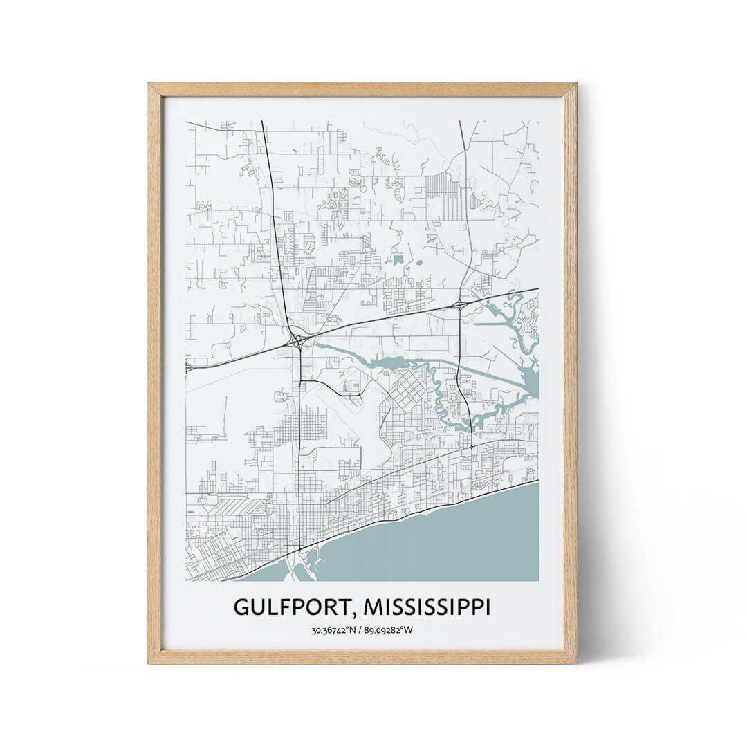 Gulfport city map poster
