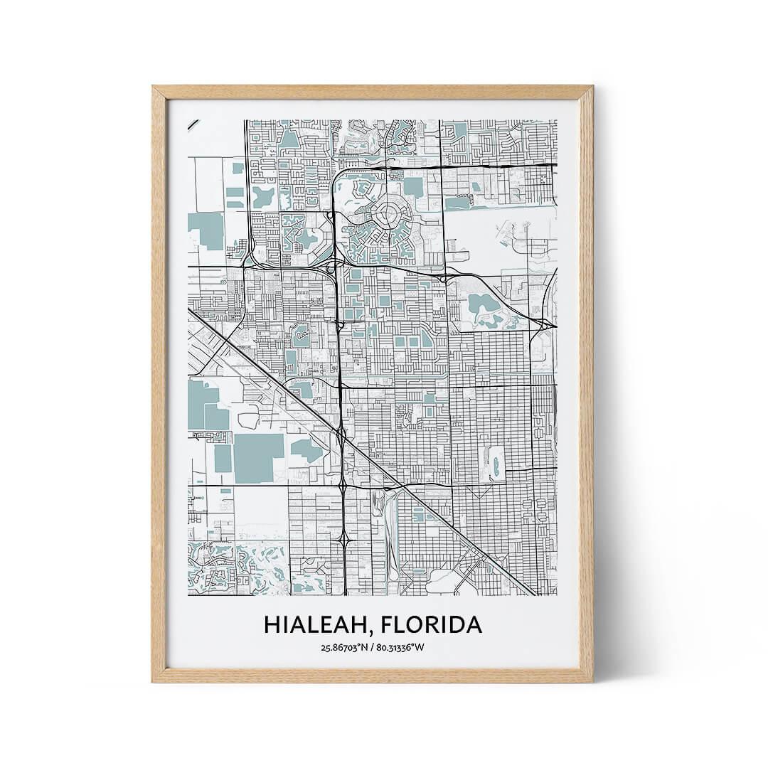 Hialeah city map poster