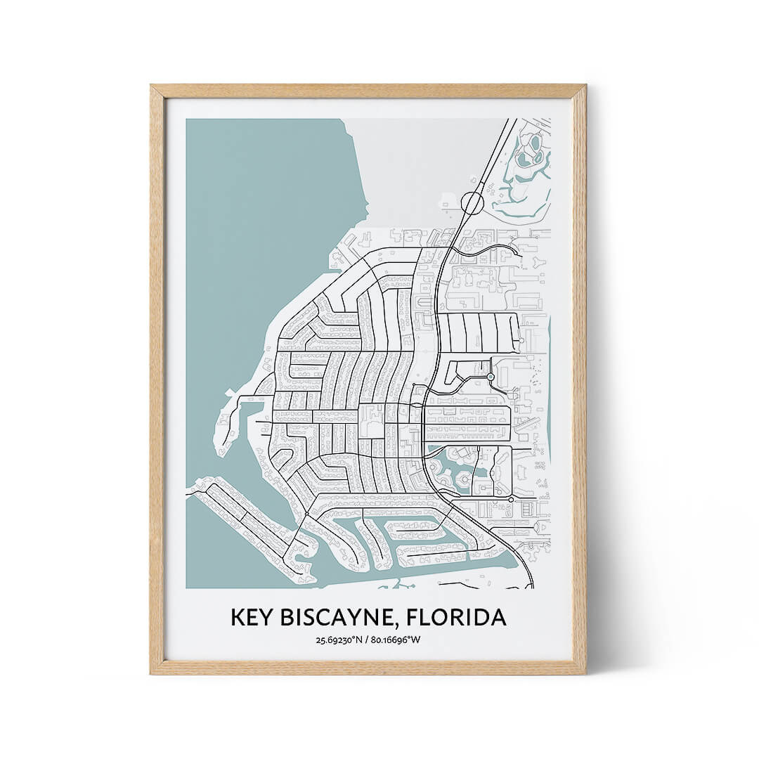Key Biscayne city map poster
