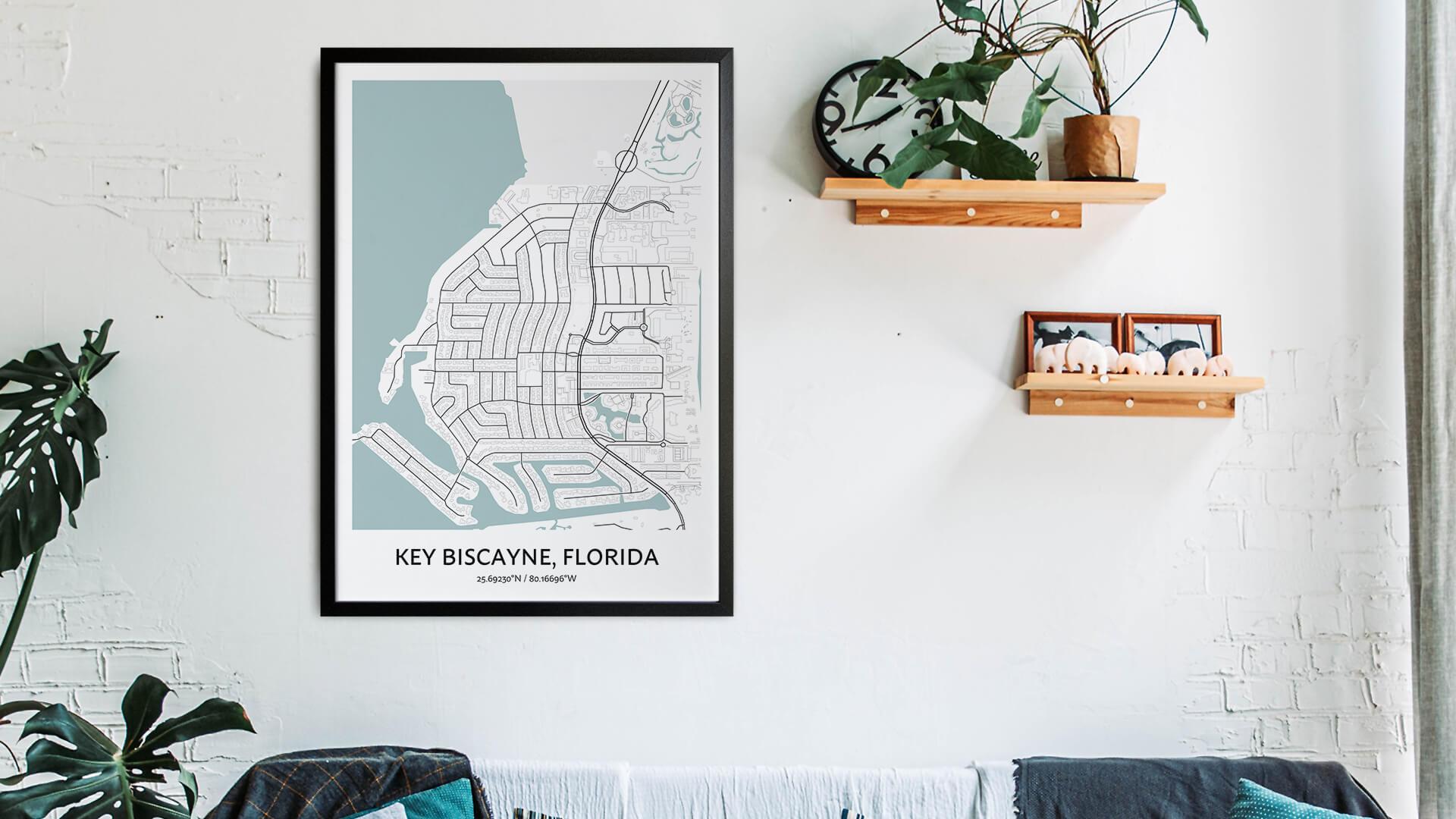 Key Biscayne map art