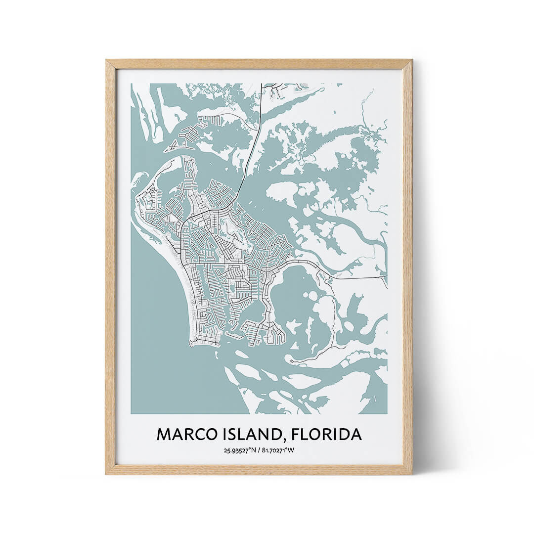 Marco Island city map poster