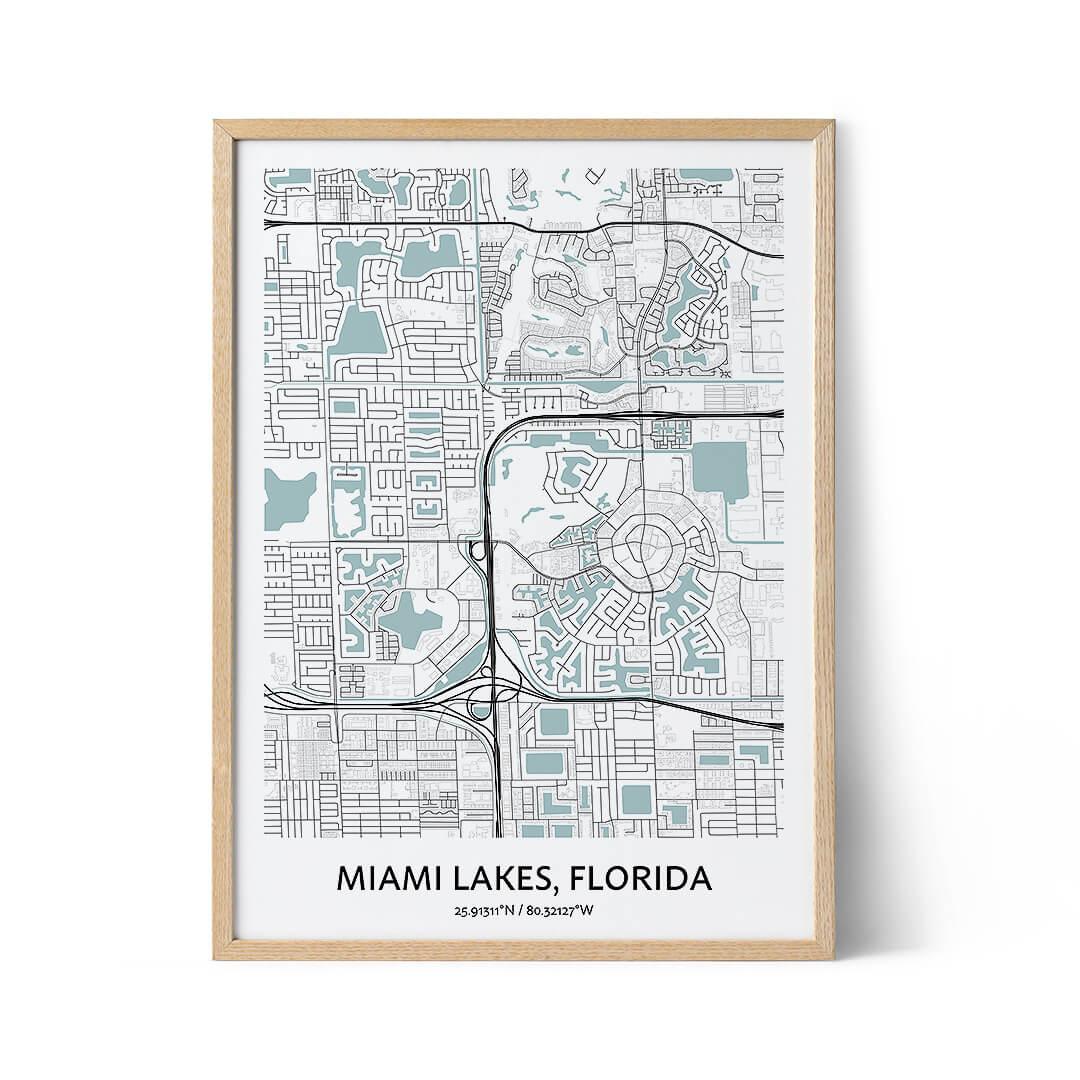 Miami Lakes city map poster