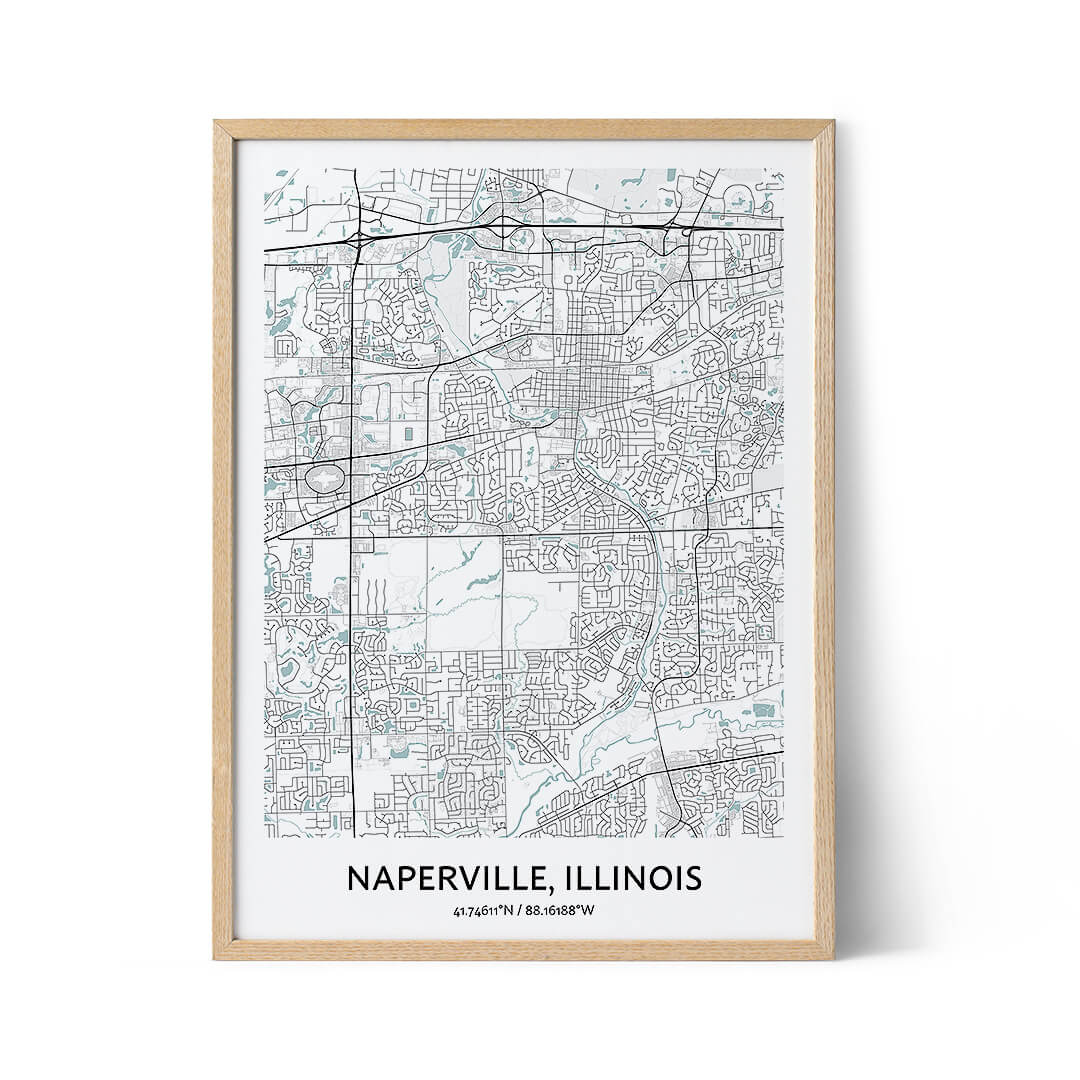 Naperville city map poster