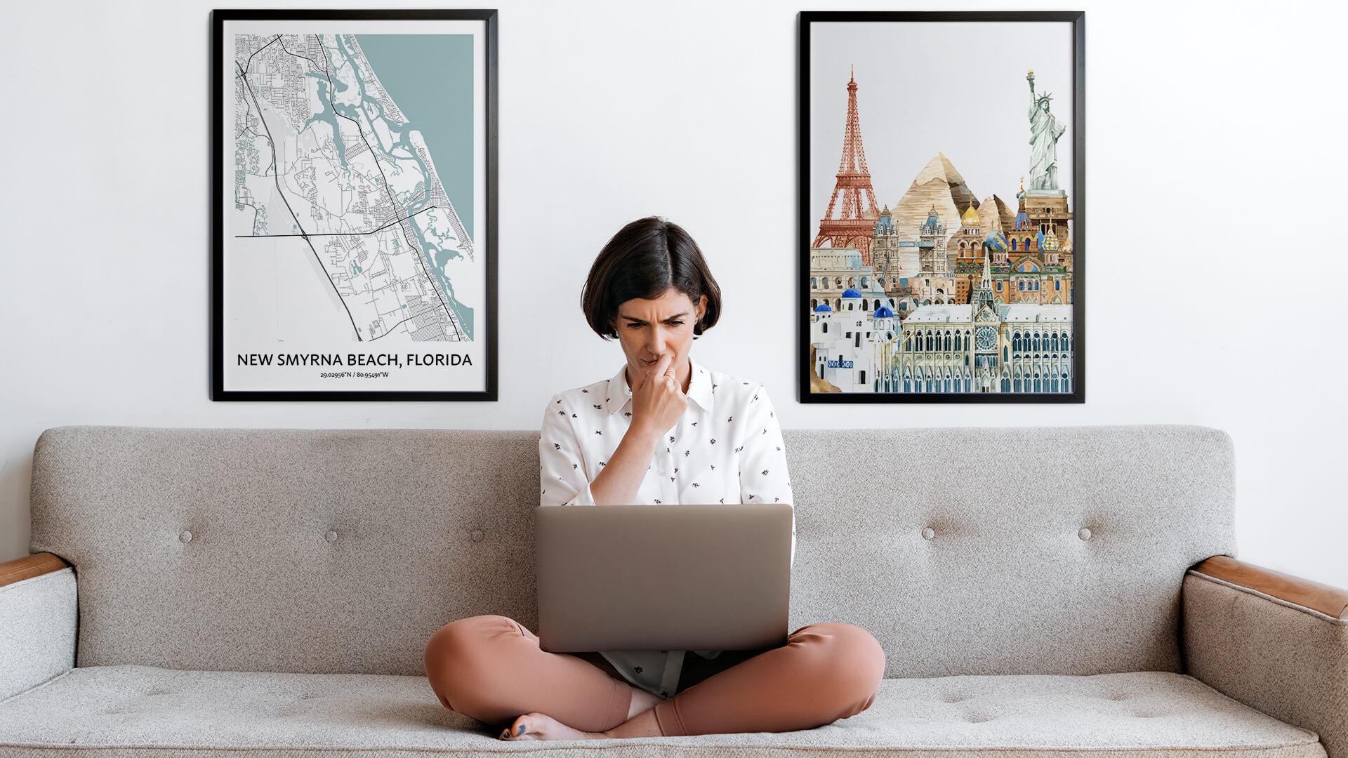 New Smyrna city map art