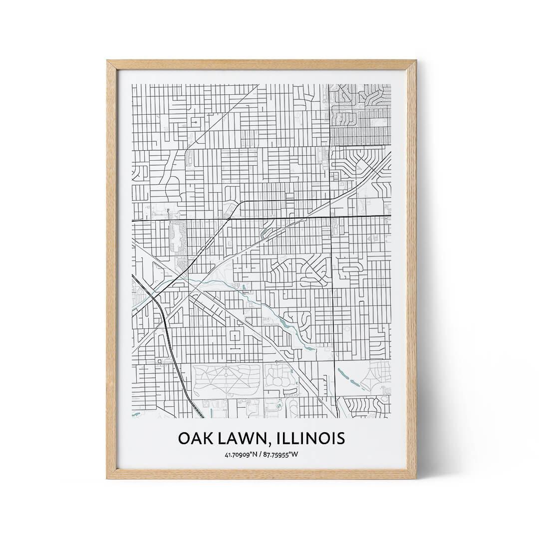 Oak Lawn city map poster