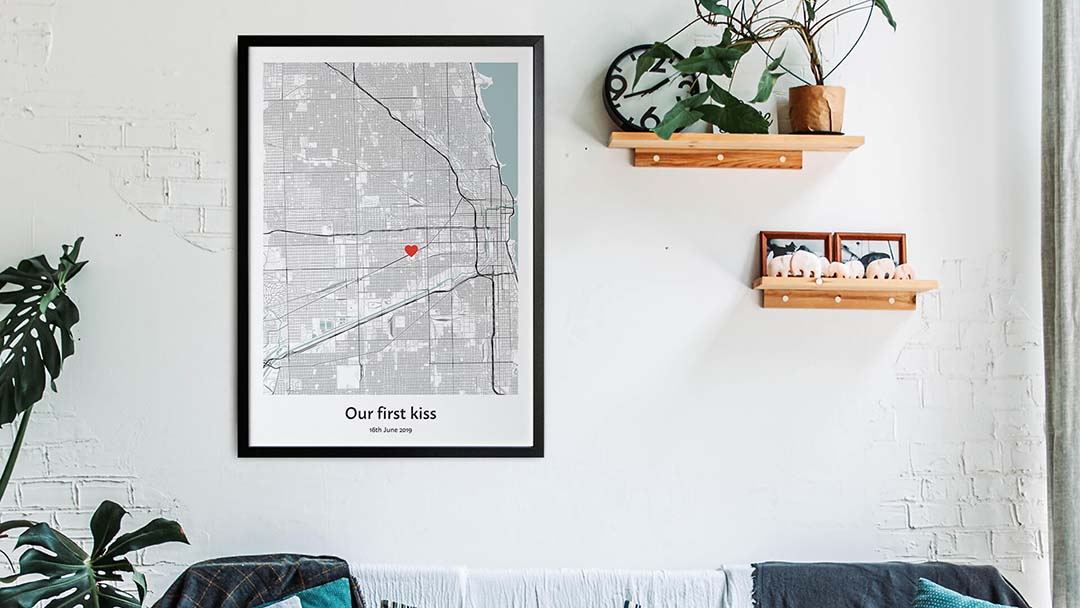Our first kiss map gift