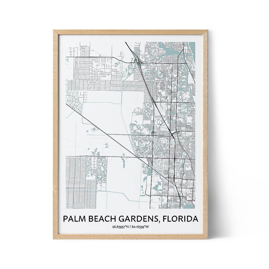 Palm Beach Gardens city map poster