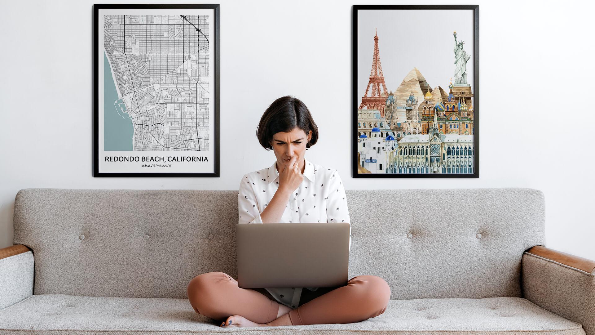 Redondo Beach city map art