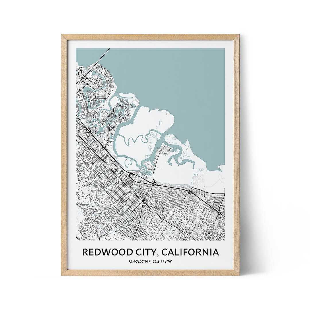Redwood City city map poster