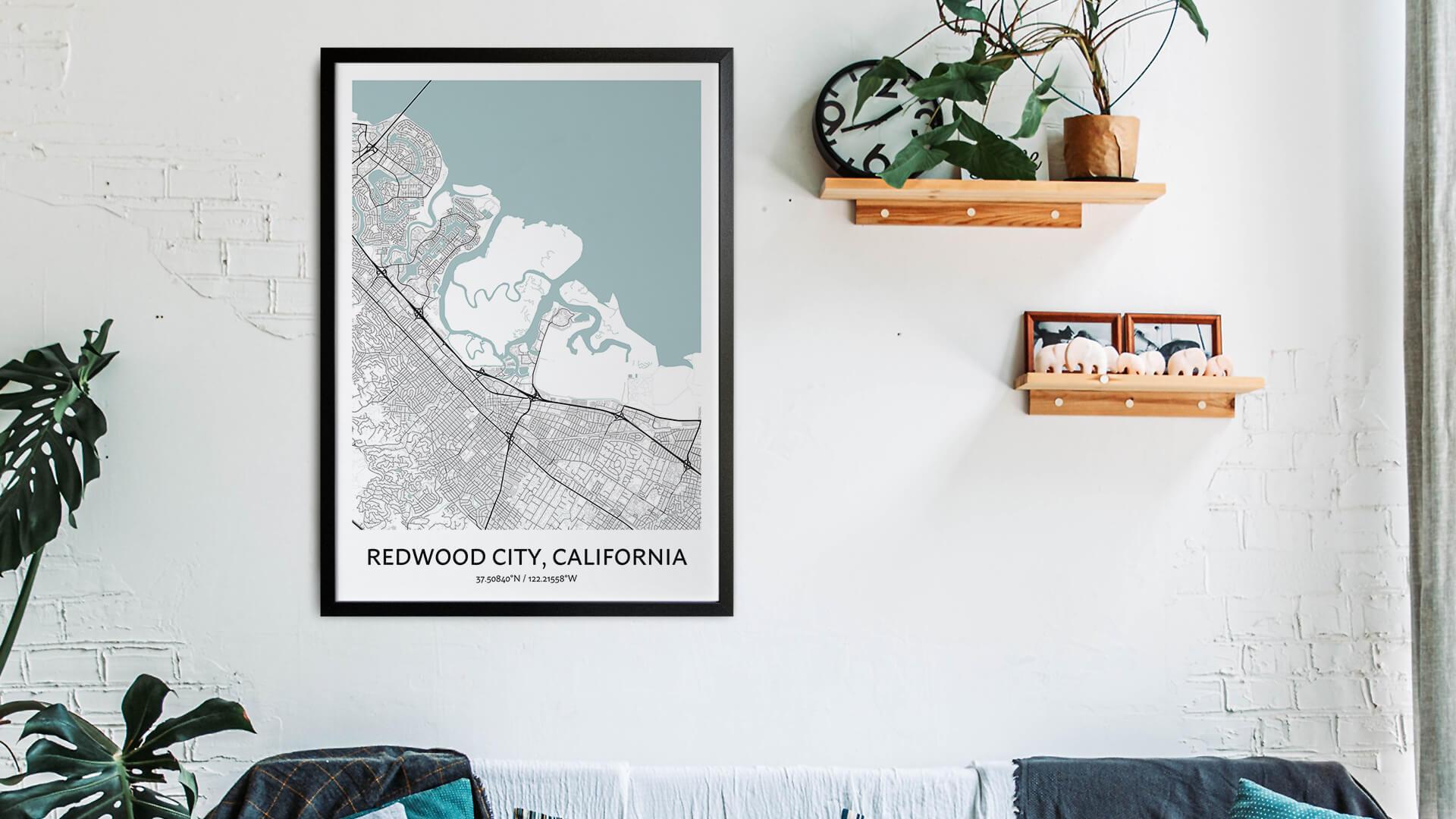 Redwood City map art
