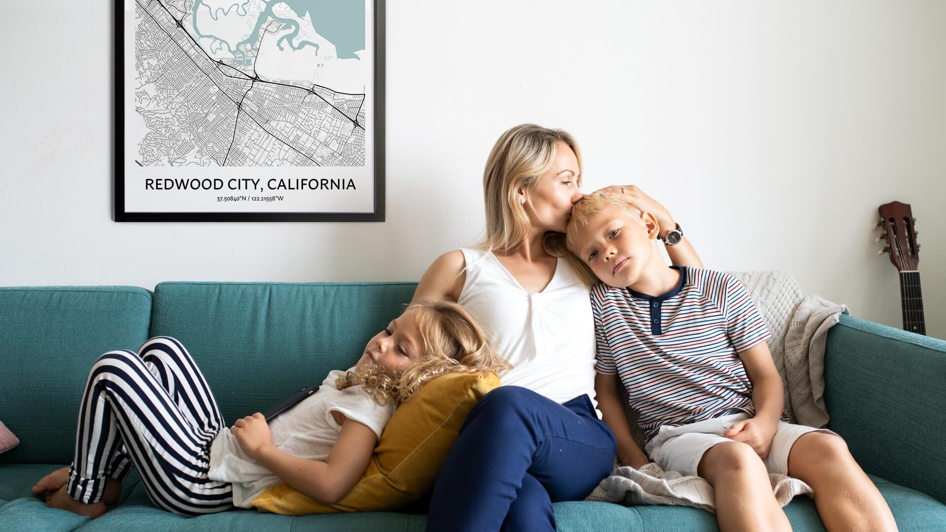 Redwood City map poster