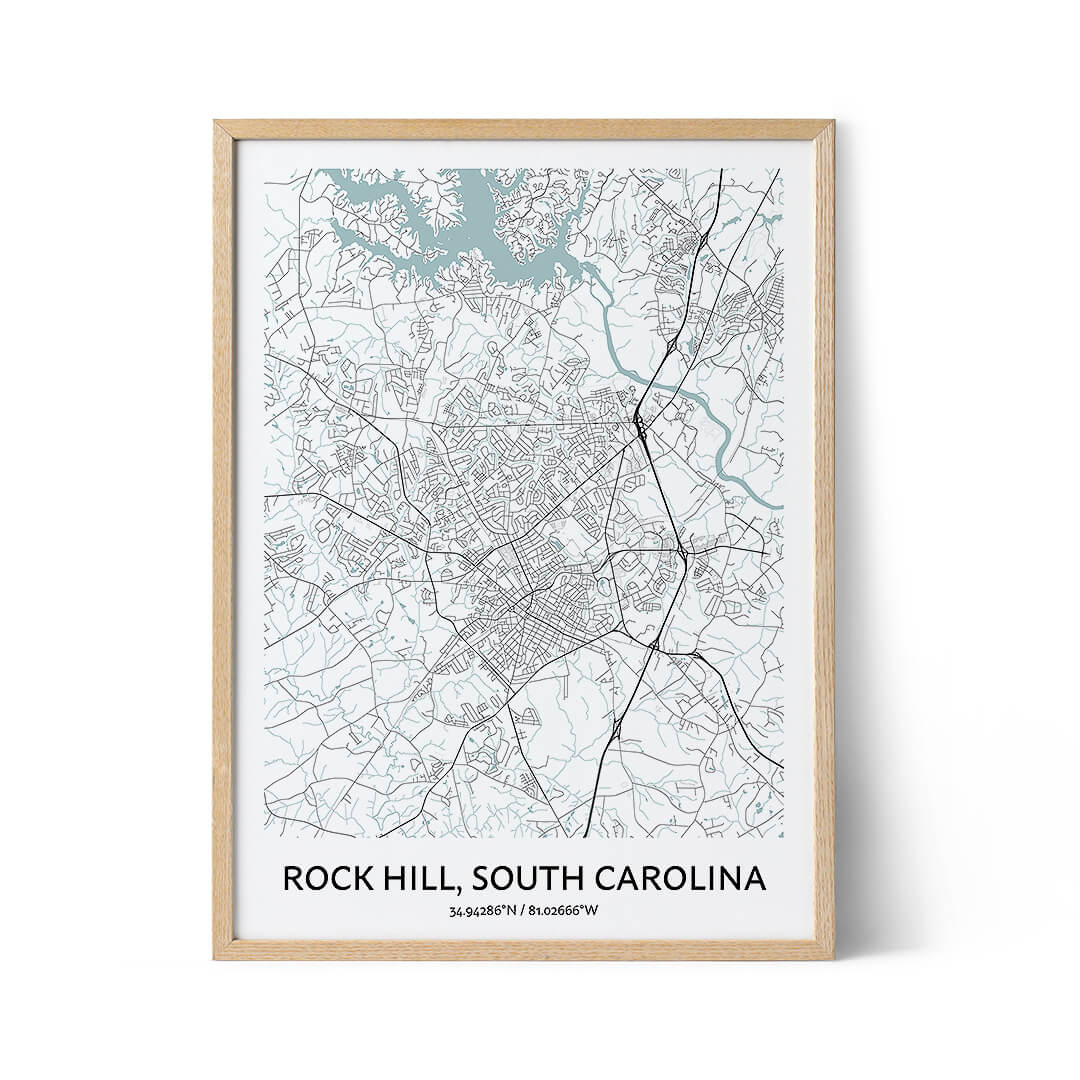 Rock Hill city map poster