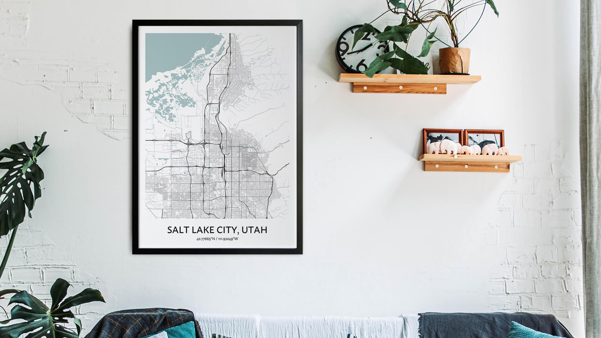Salt Lake City map art