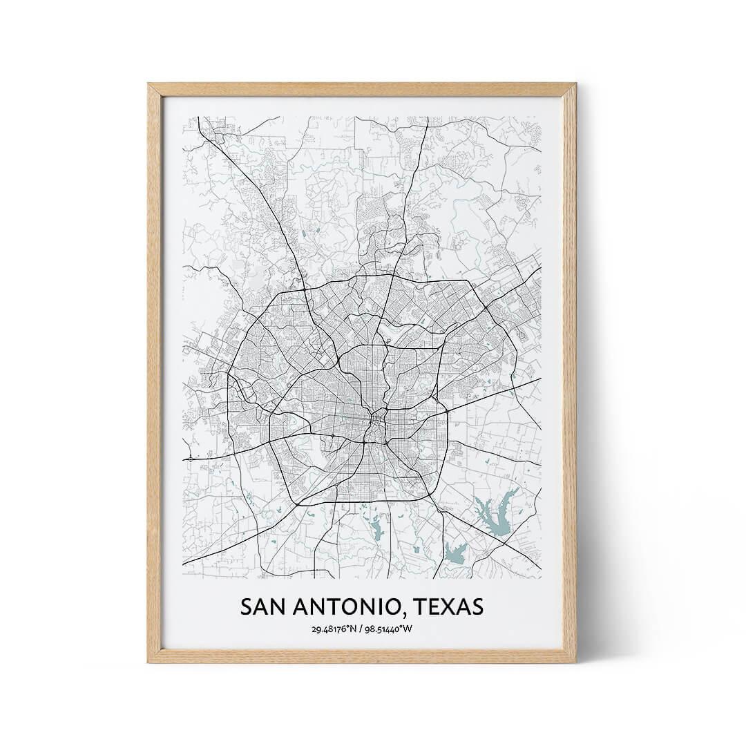 San Antonio city map poster