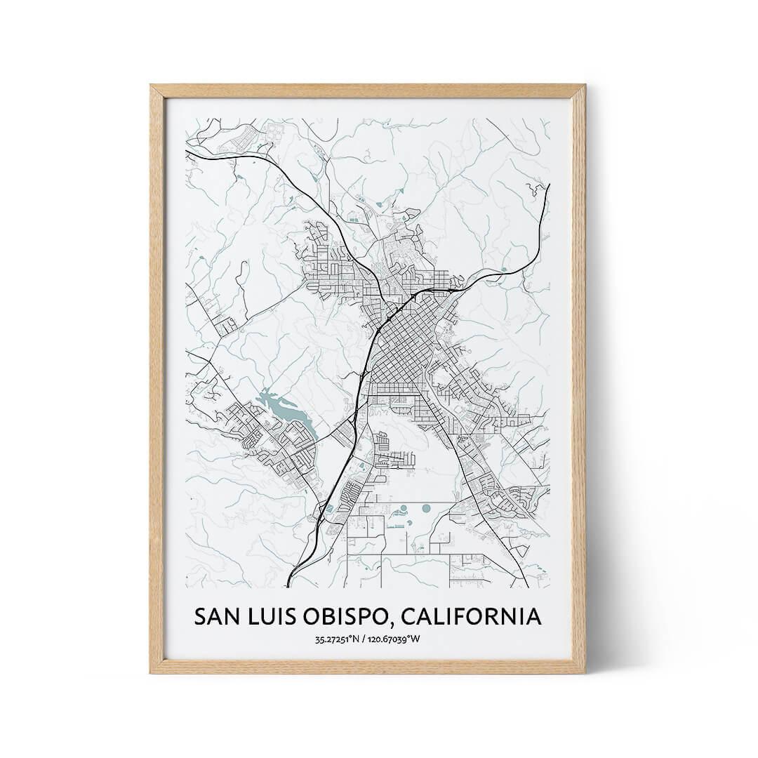 San Luis Obispo city map poster