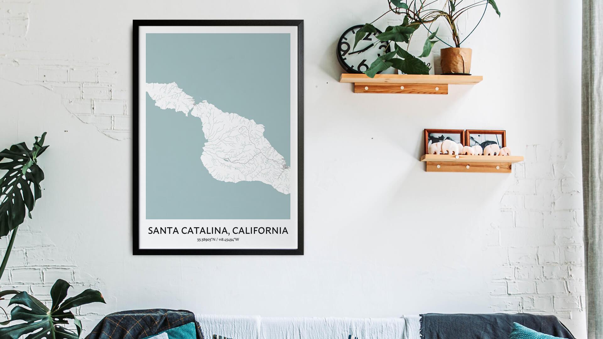 Santa Catalina map art