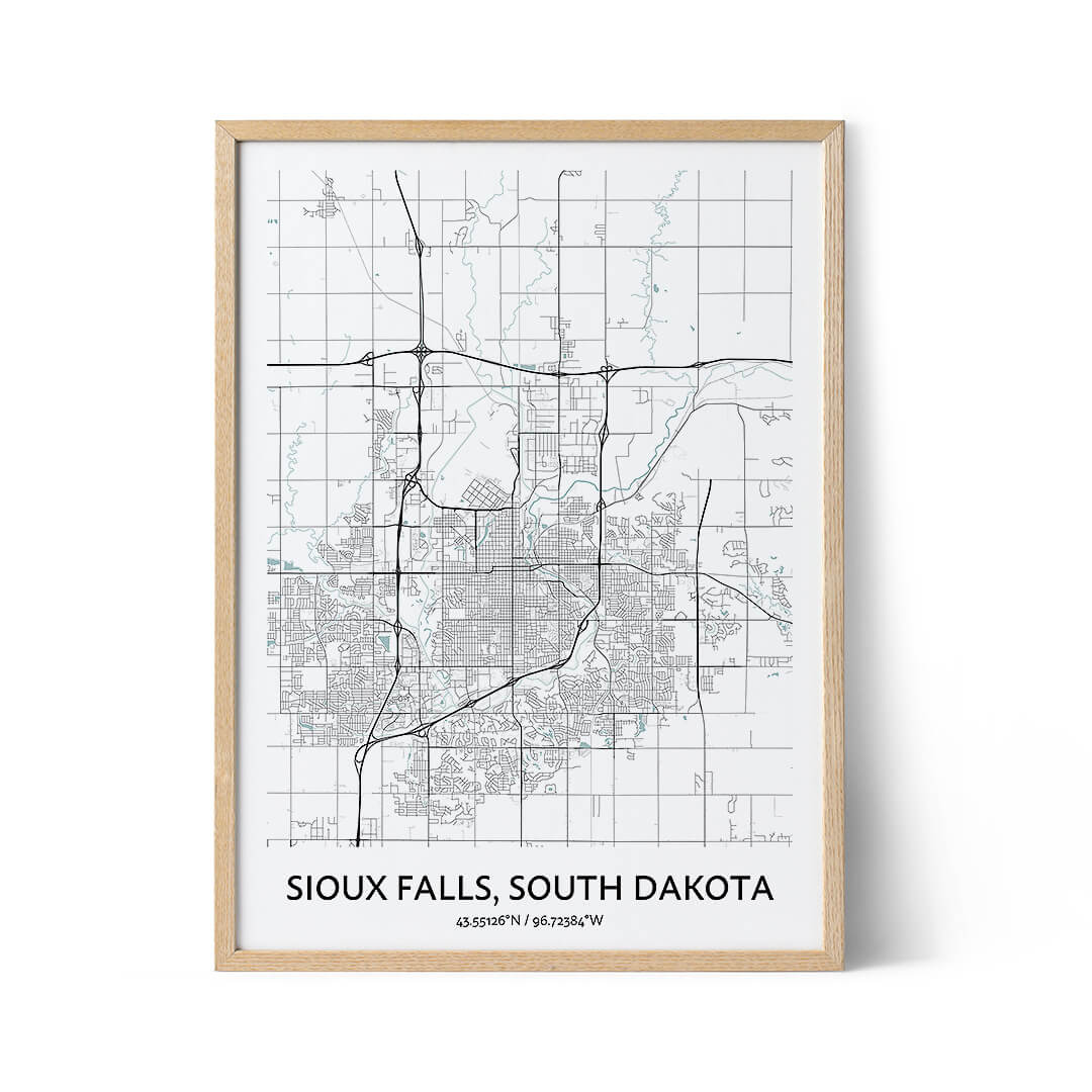 Sioux Falls city map Sioux Falls city map posterposter