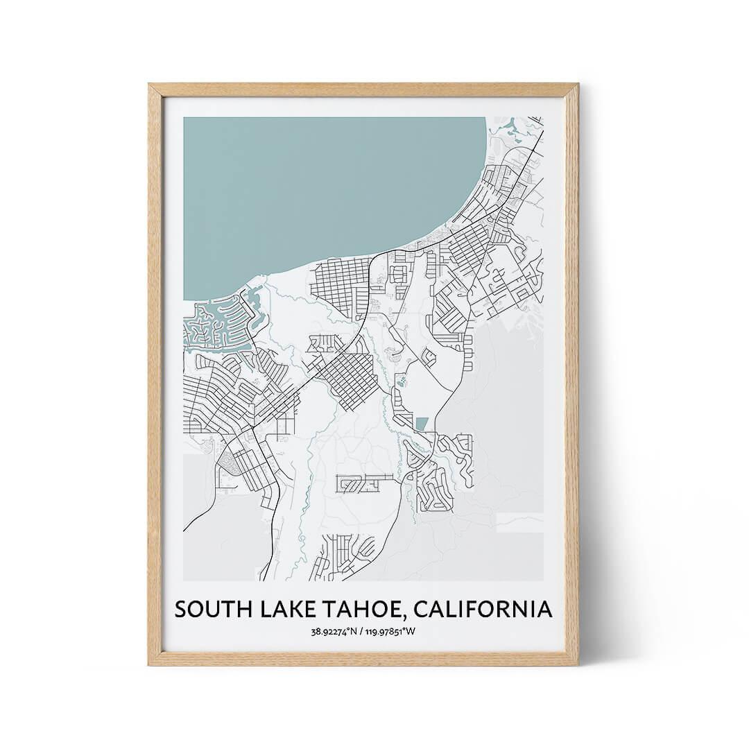 South Lake Tahoe city map poster