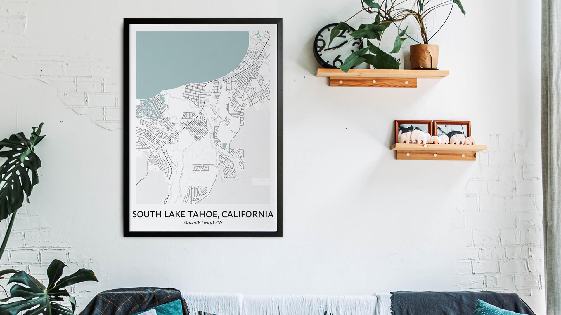 South Lake Tahoe map art