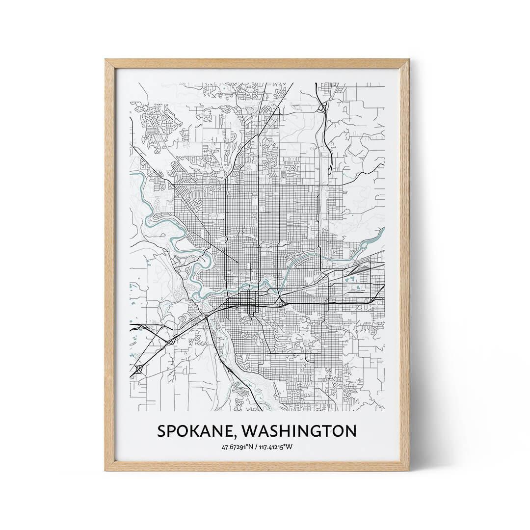 Spokane city map poster